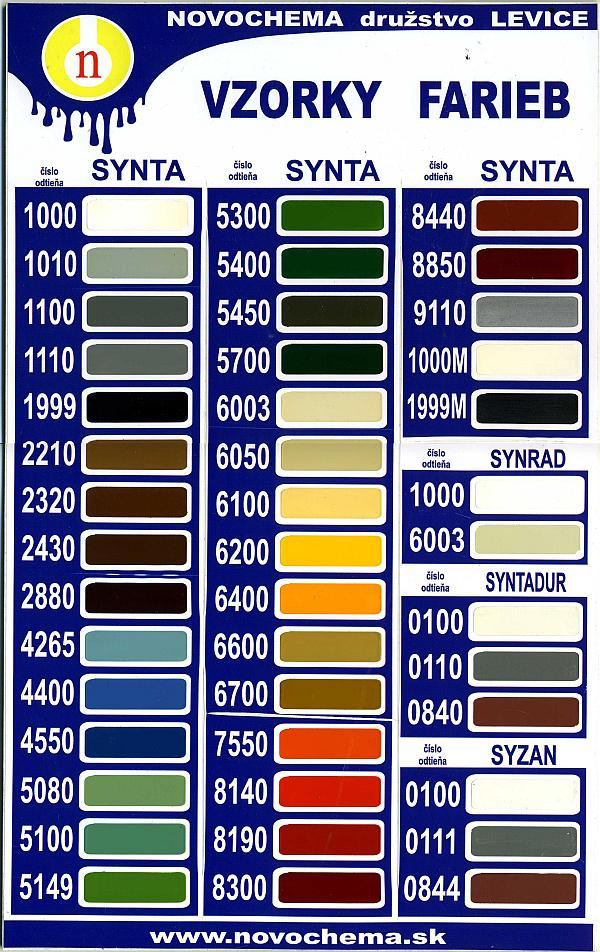 vzorkovník syntetických farieb synta
